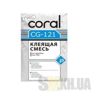 Клей для плитки и керамогранита Корал ЦГ 121 (Сoral CG 121) (25 кг)