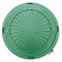 Люк смотровой max 2 т (зеленый) круглый с запорным механизмом