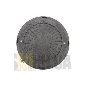 Люк смотровой max 2 т (черный) круглый с запорным механизмом