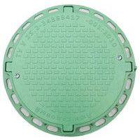 Люк смотровой садовый (зеленый) круглый с запорным механизмом