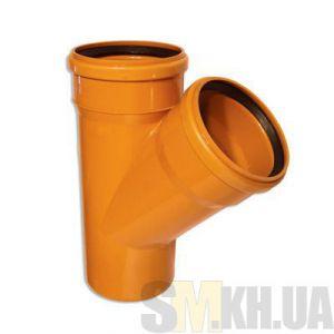 Тройник 100 мм канализационный наружный (45 градусов)