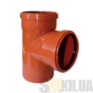 Тройник 100 мм канализационный наружный (90 градусов)