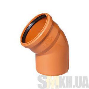 Уголок 100 мм (колено) канализационный наружный (45 градусов)