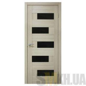 Двери межкомнатные ОМиС «Домино ПВХ» (полотно под остекление, черное стекло)