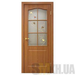 Двери межкомнатные ОМиС «Классика ПВХ» (полотно со стеклом с контурным рисунком)