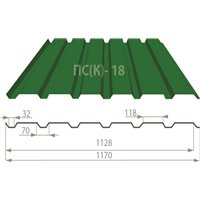 Профнастил ПС(К)-18 Pema (матполиестер) 0,45 мм Украина (м.кв)