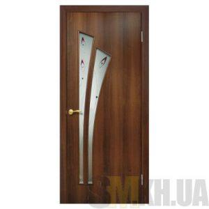 Двери межкомнатные ОМиС «Пальма ПВХ» (полотно со стеклом с контурным рисунком)